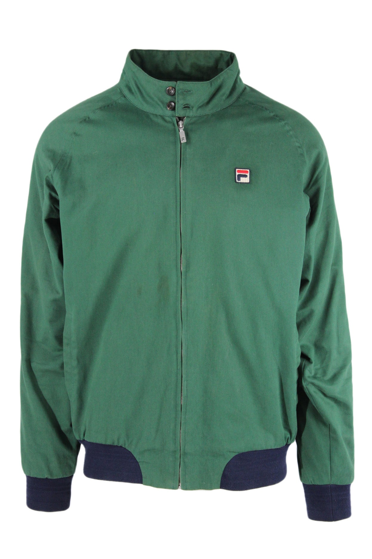 fila for urban outfitters green zip up cotton jacket. features logo tag at left breast with hand pockets at sides. fully plaid lined with navy ribbed at cuffs and hem.