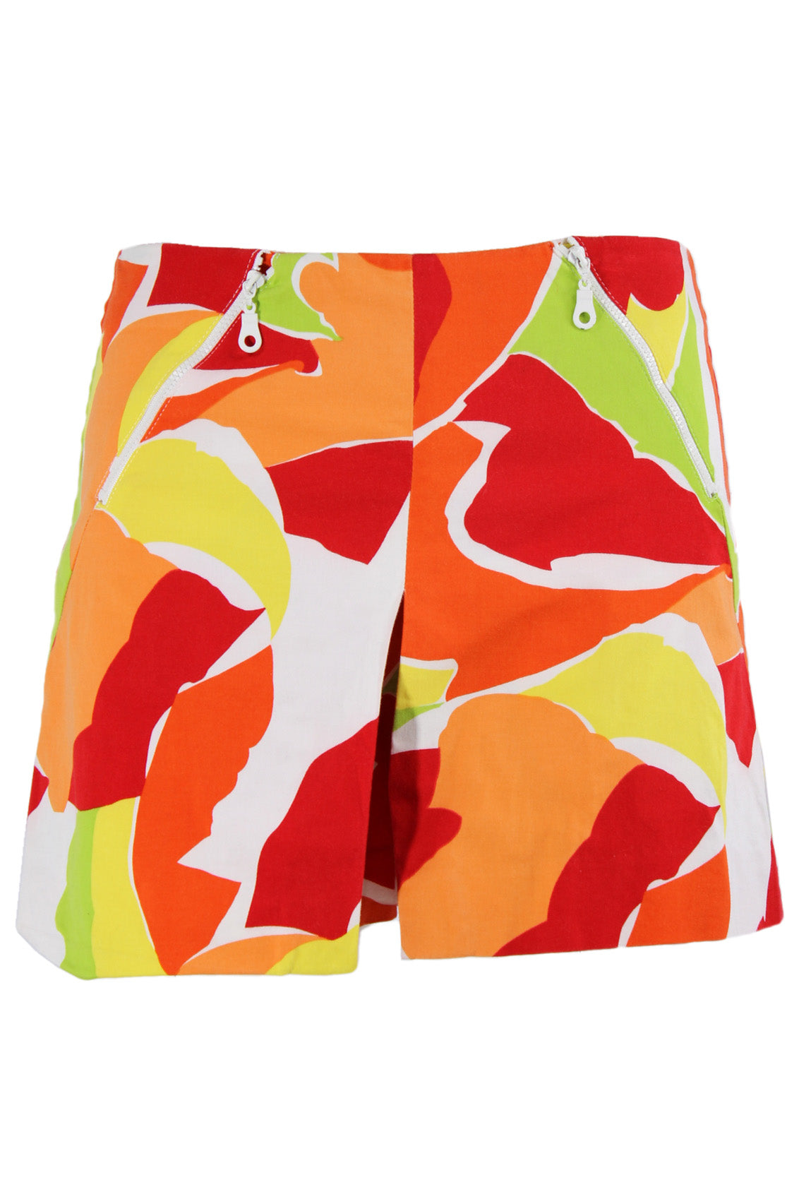 vintage orange multicolor shorts. features decorative zipper closures at the waist, and a zipper closure at the center back.
