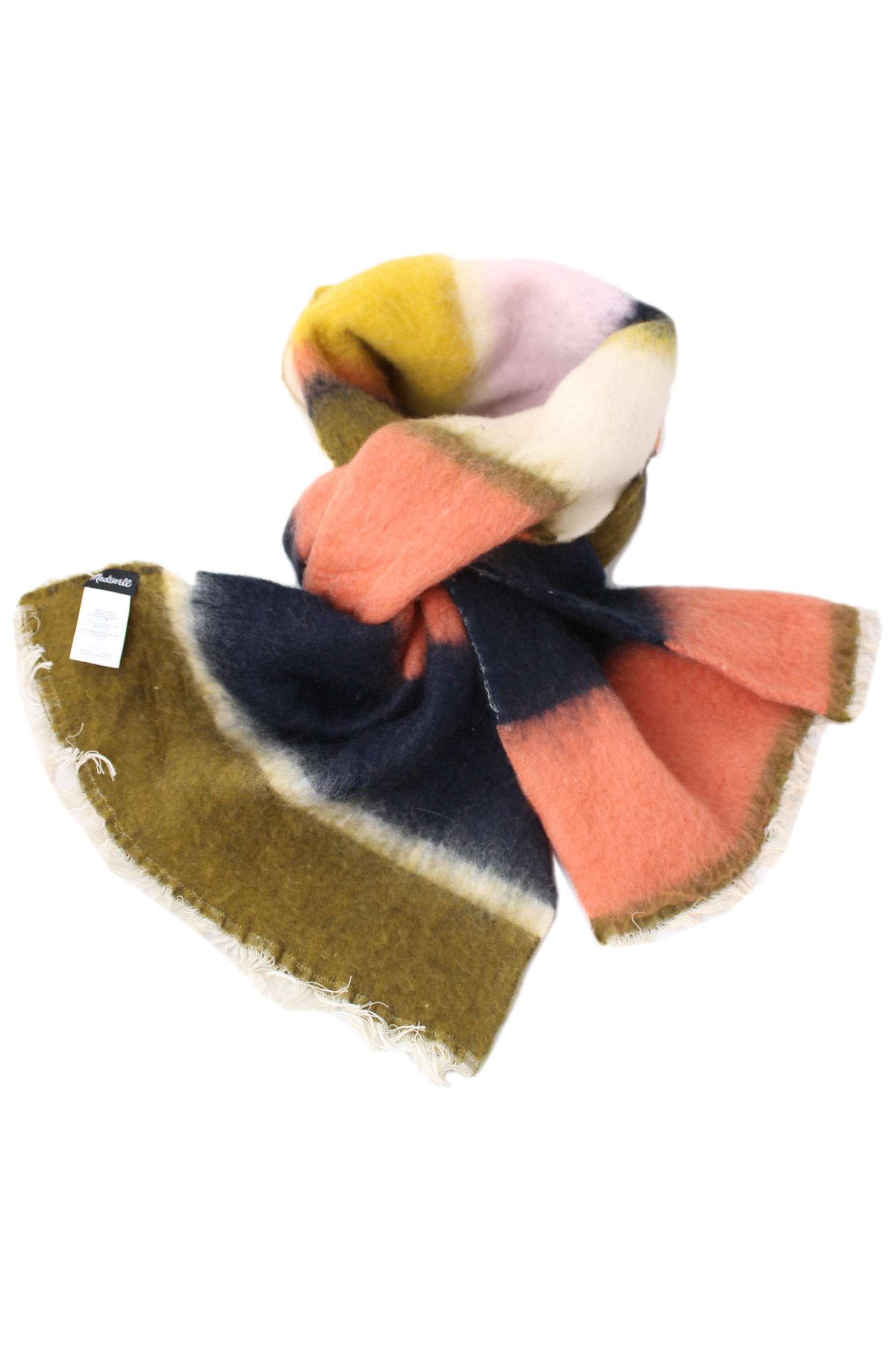 madewell multi color scarf. features wide silhouette and off white fringe.