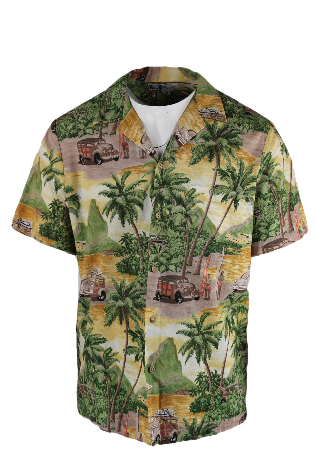 vintage styled by rjc palm tree button down shirt. features multicolor island print exterior, brown wooden look buttons, exterior pocket and short sleeves.