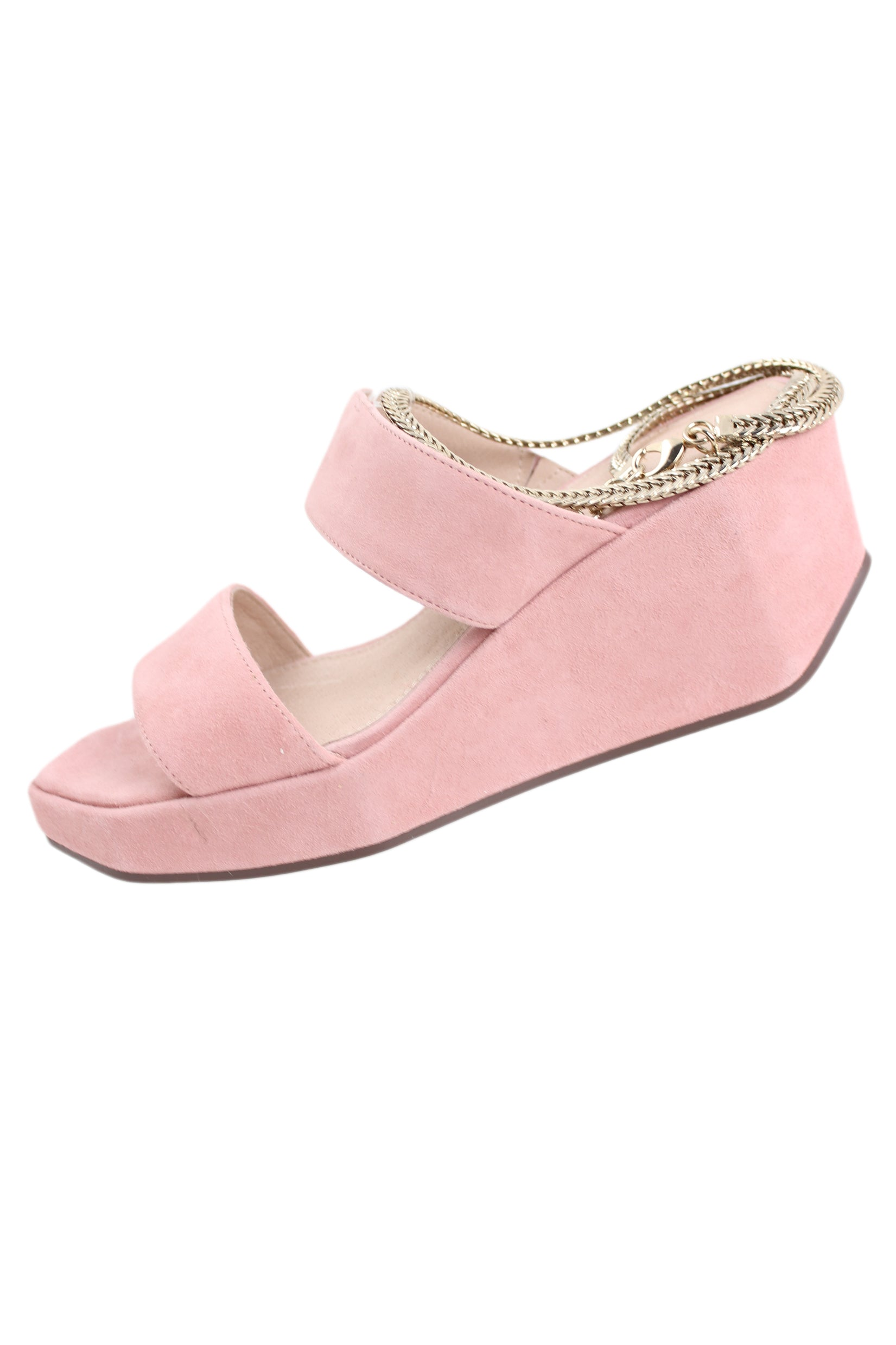"cecilia new york pink ""baileves"" sandals. features geometric shaped wedge with removable chain. has dust bag."