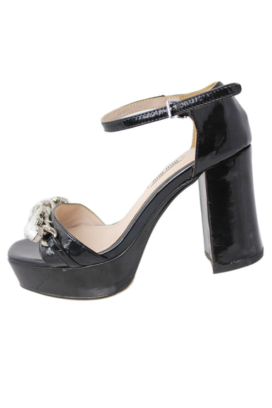 miu miu open toe black patent rhinestone chain heel. features block heel and ankle strap. additional rubber sole added by prior owner.