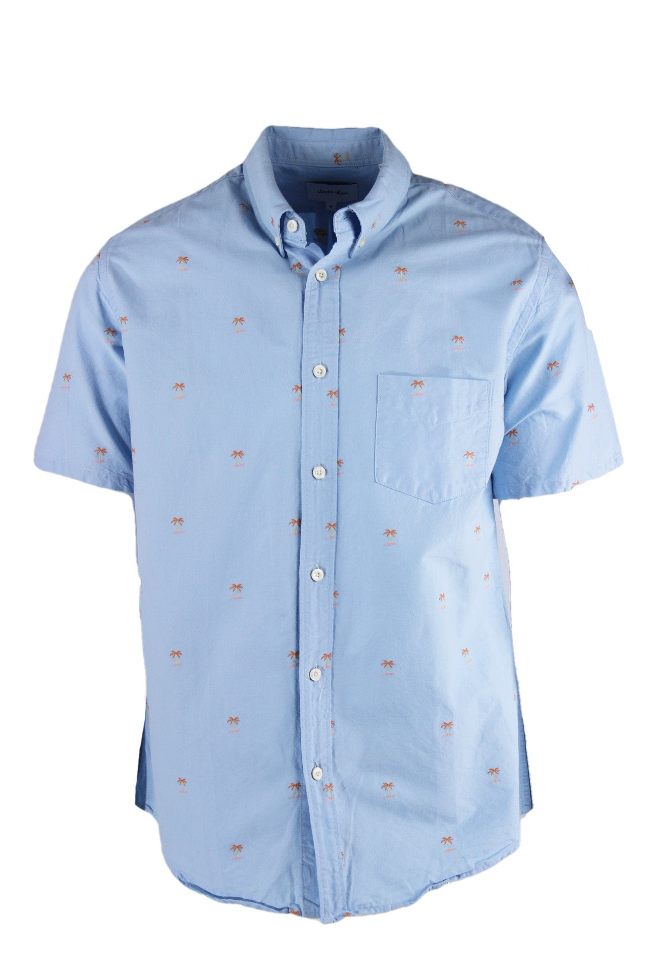 steven alan baby blue palm tree short sleeve button down shirt. features embroidered orange, yellow, and light pink palm tree design throughout. button down collar, chest patch pocket regular cut.