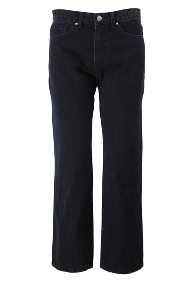 need faded black high waisted straight cut jeans. features a zipper fly & button closure, five pockets, & a belt loop.