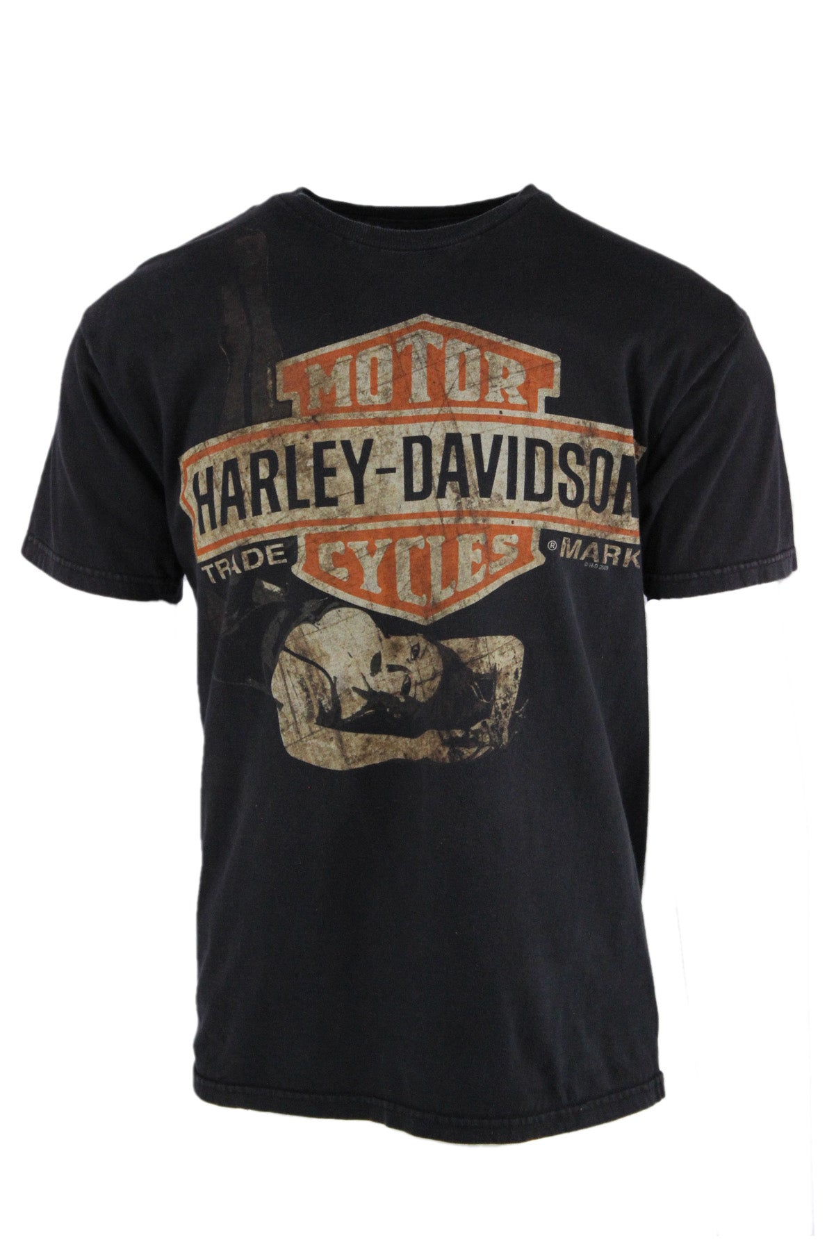 description: vintage harley-davidson black t-shirt. featuring ramstein, germany air base graphic on back.