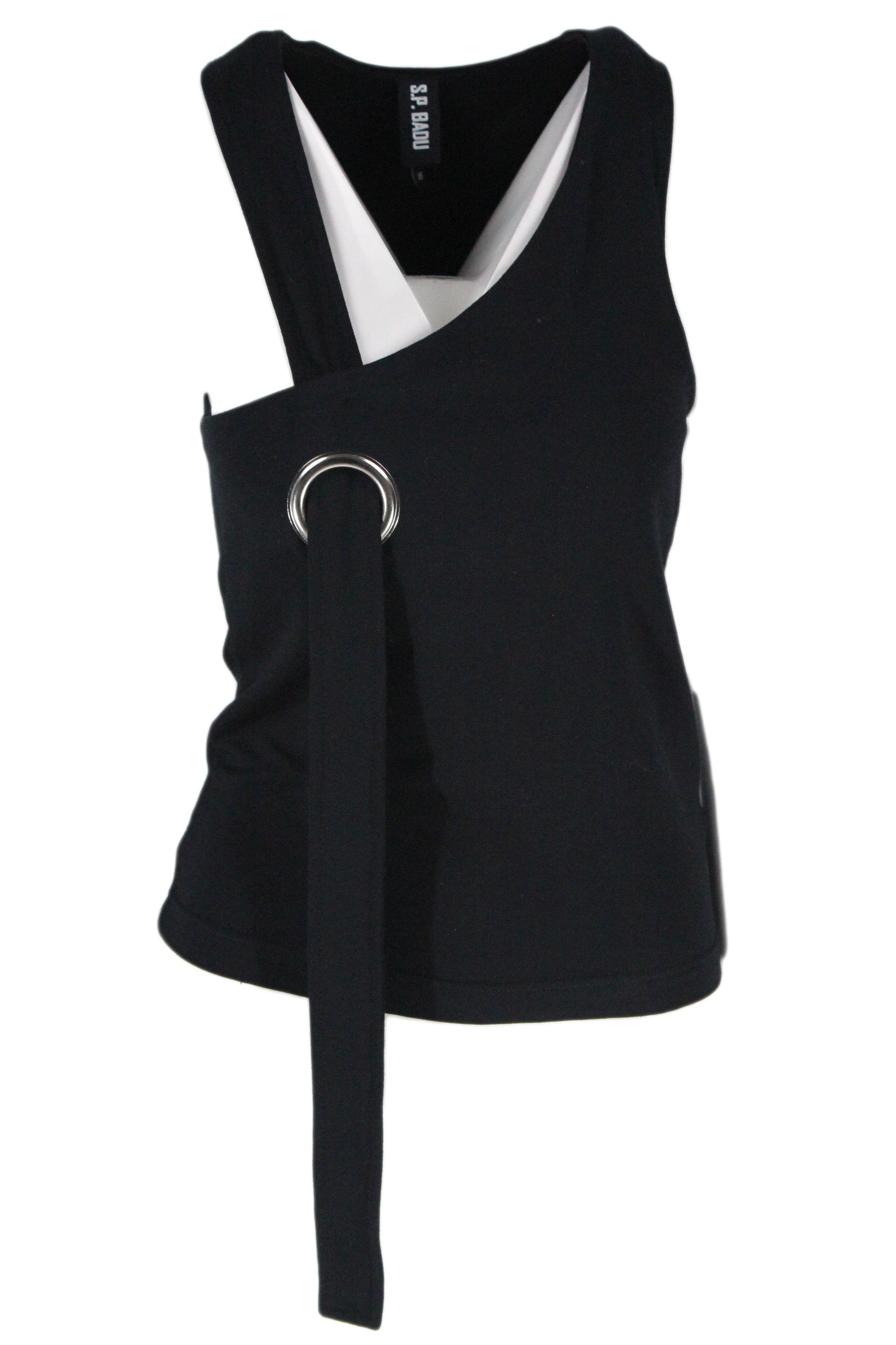 s.p. badu black sleeve-less top. features a metal loop at the right chest, and a right sash strap.