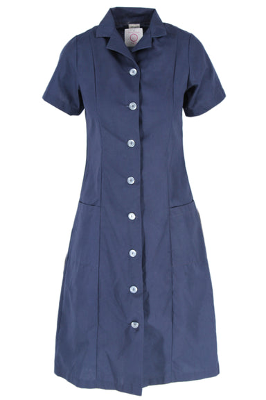 vintage navy short sleeve shirt dress. featuring a-line skirt silhouette, button-down closure, darting, and 2 pockets.