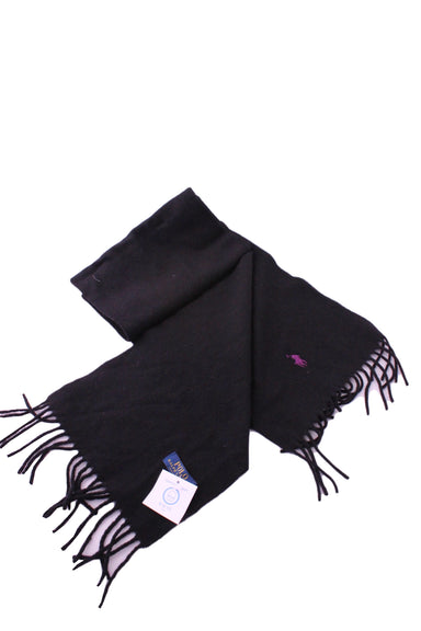 polo ralph lauren black scarf. features logo at front side and logo tag at back side with tasseled hems.