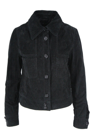 zara woman black suede trucker jacket. featuring 2 pockets, button-up closure, and wrist cuffs
