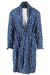 vintage 40's max goldstein multi blue robe. features abstract pattern throughout with hand pockets at belted waist.