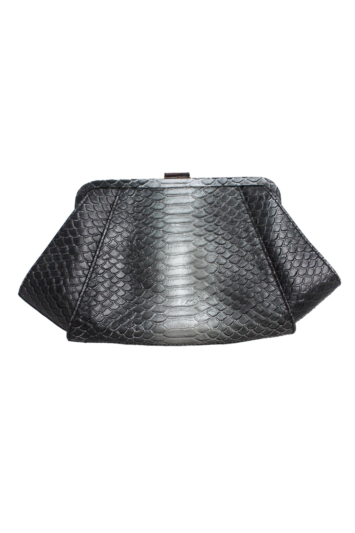 zac posen gray ombre snake embossed clutch/crossbody bag. features a concealable and removable strap.