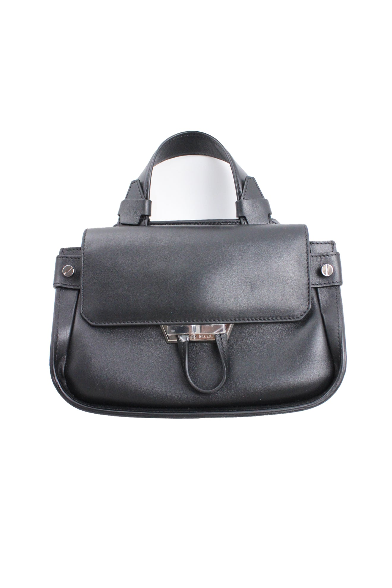 lindsey nicole black hand bag. features magnetic closures, zipper closures at the interior and exterior pockets. silver tone metal details. authenticity card and extra strap included.