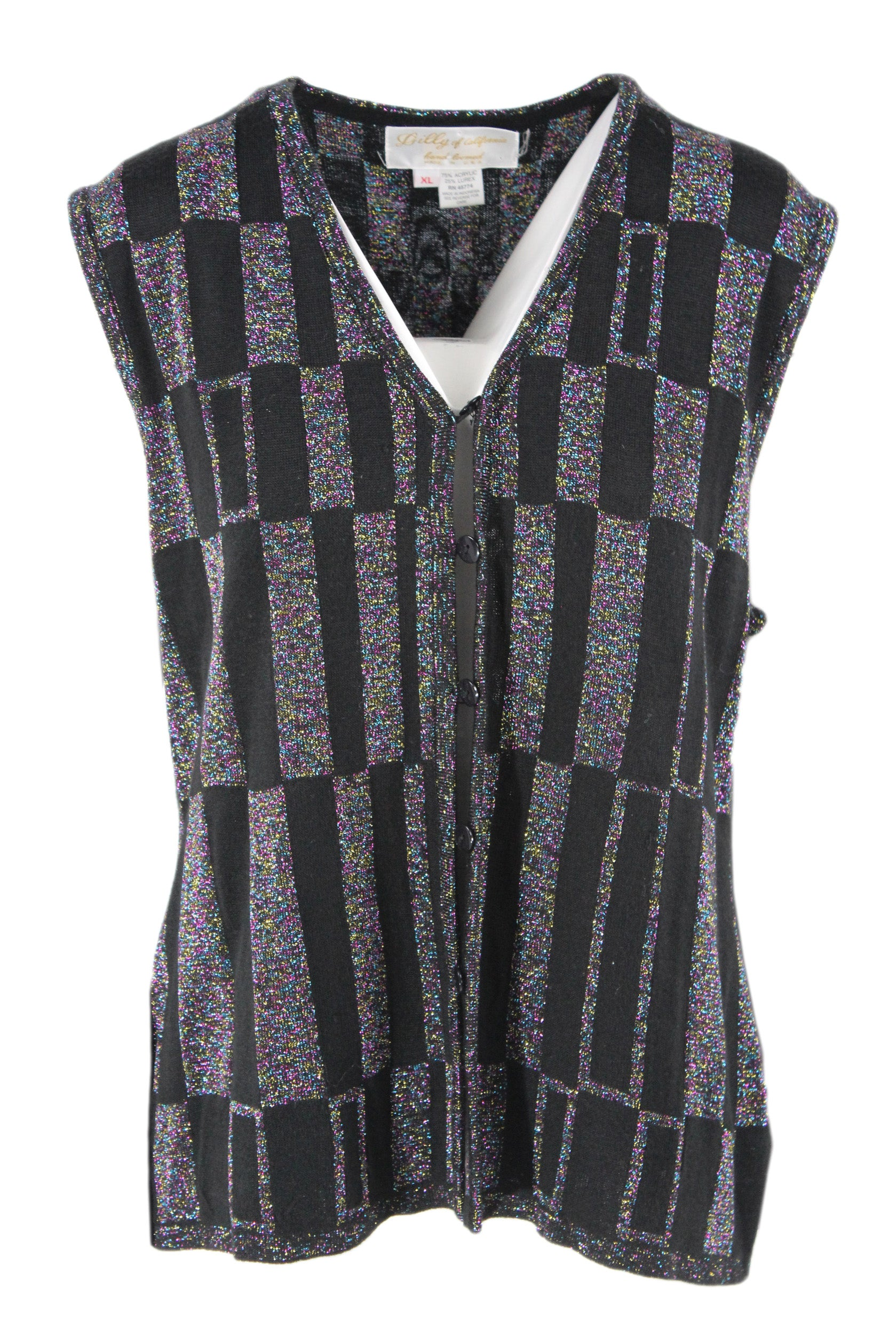 vintage black and metallic rainbow sweater vest. featuring a hand-loomed checkered design.