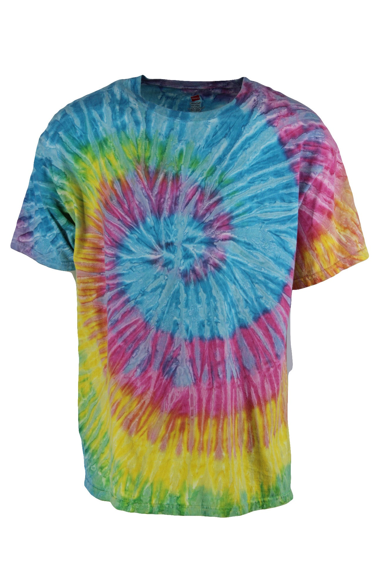 unlabeled rainbow tie-dyed short sleeve cotton t-shirt. features intricate swirled design at front and back with ribbed crewneck in a semi-boxy cut.