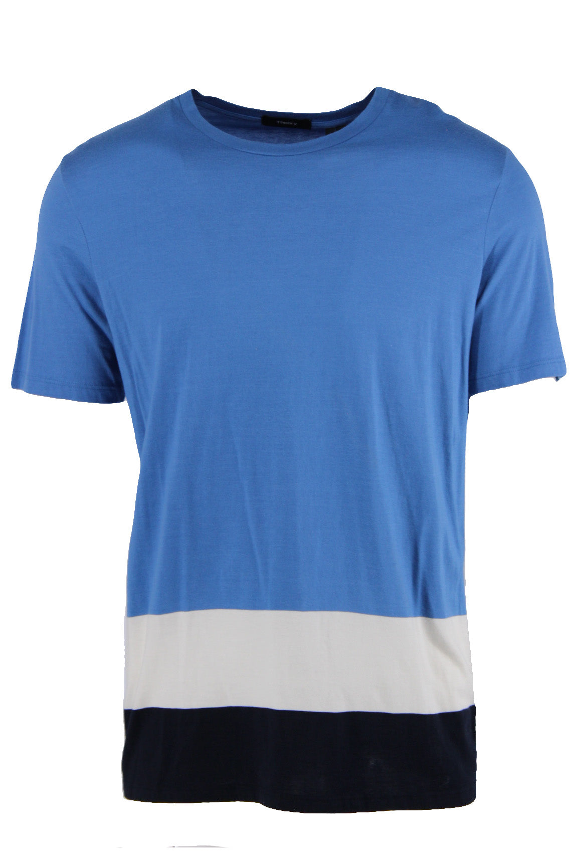 theory blue, ivory, and midnight 'tricolor jersey' short sleeve t-shirt. features tricolor horizontal stripe design and crew neckline in a regular cut.