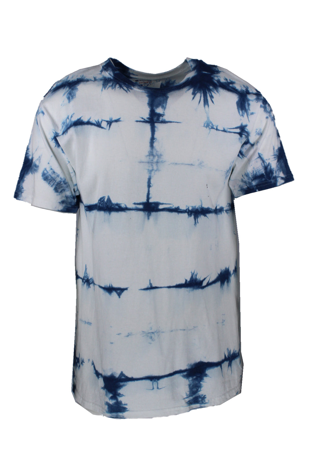 champion white t-shirt. features blue tie dye pattern throughout.