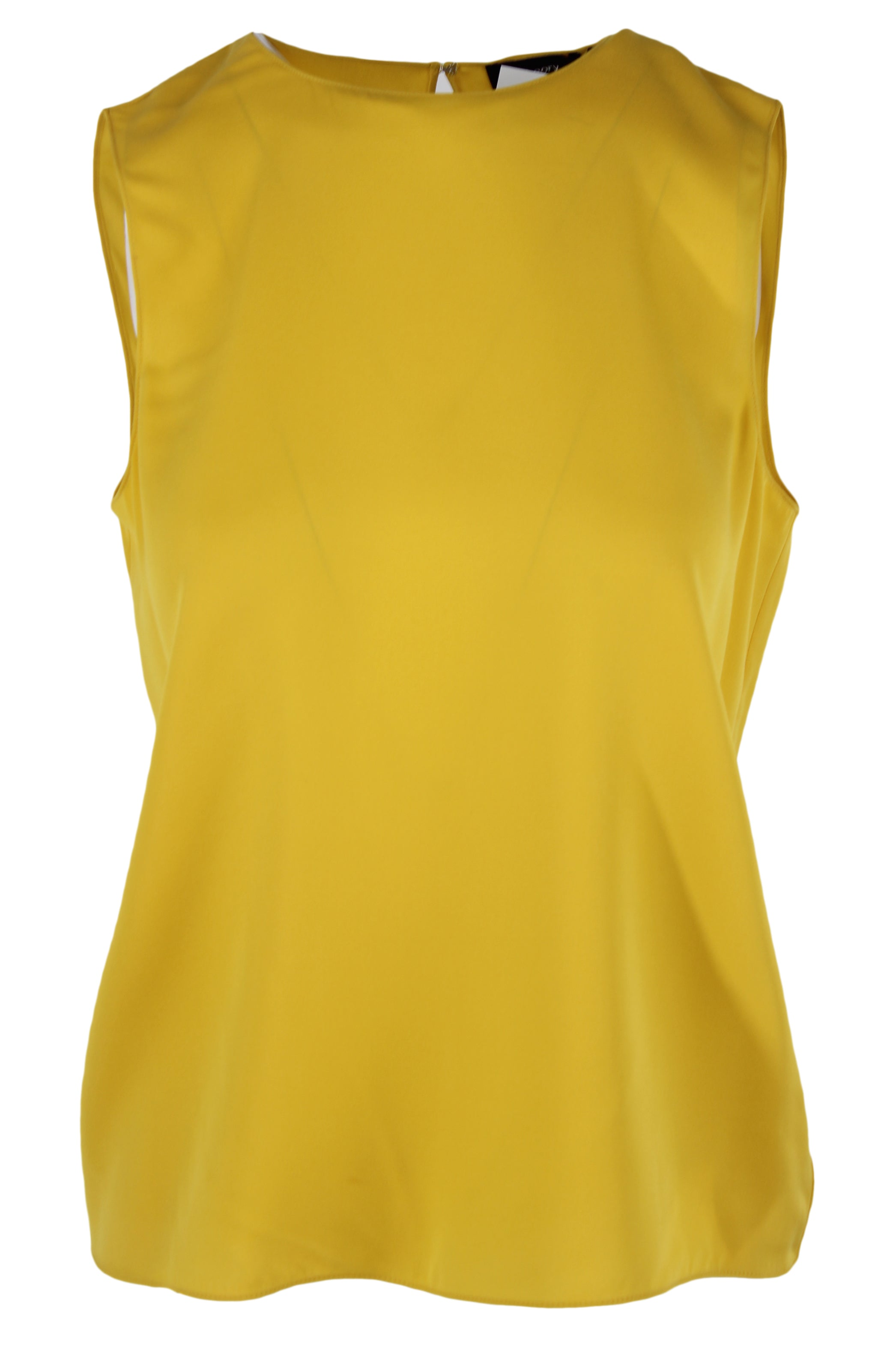 theory mustard silk tank blouse. features a hook keyhole back closure & a round neckline.