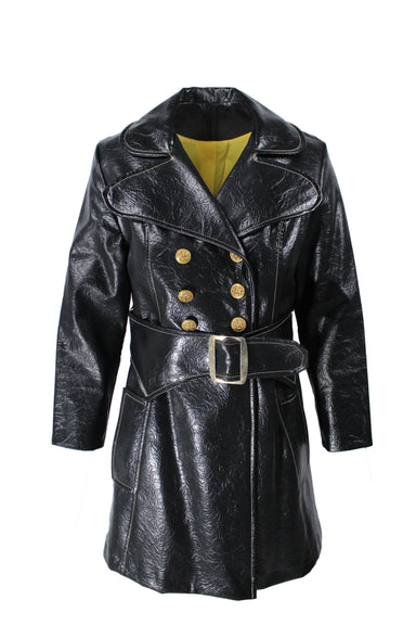vintage unlabeled black leather jacket. features gold contrast stitching, exaggerated lapels, yellow lining, gold tone button closures, belt with silver tone button and exterior pockets.