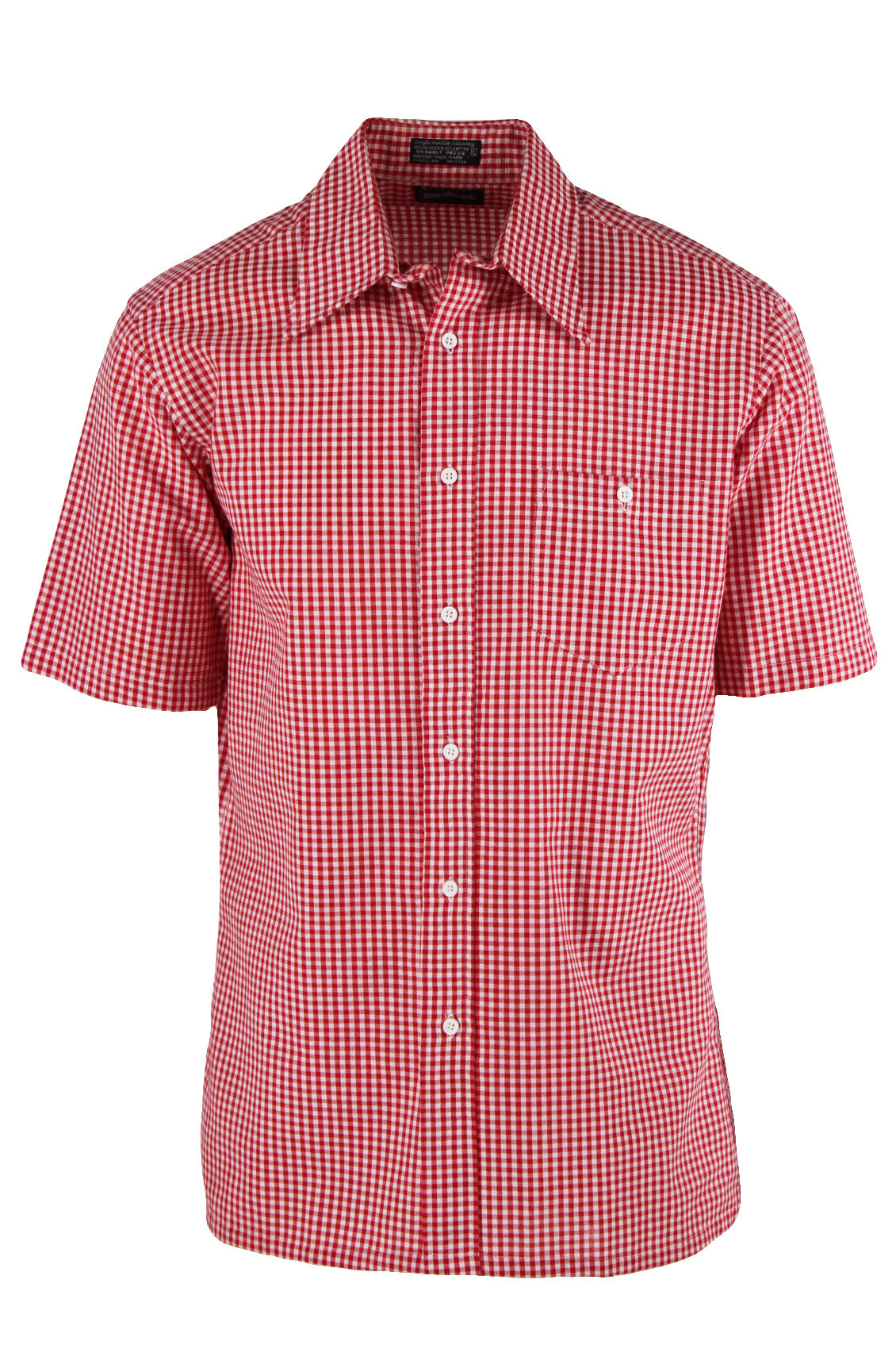 vintage burdines red and white gingham short sleeve button down shirt. features pointed collar and buttoned chest patch pocket in a straight cut.