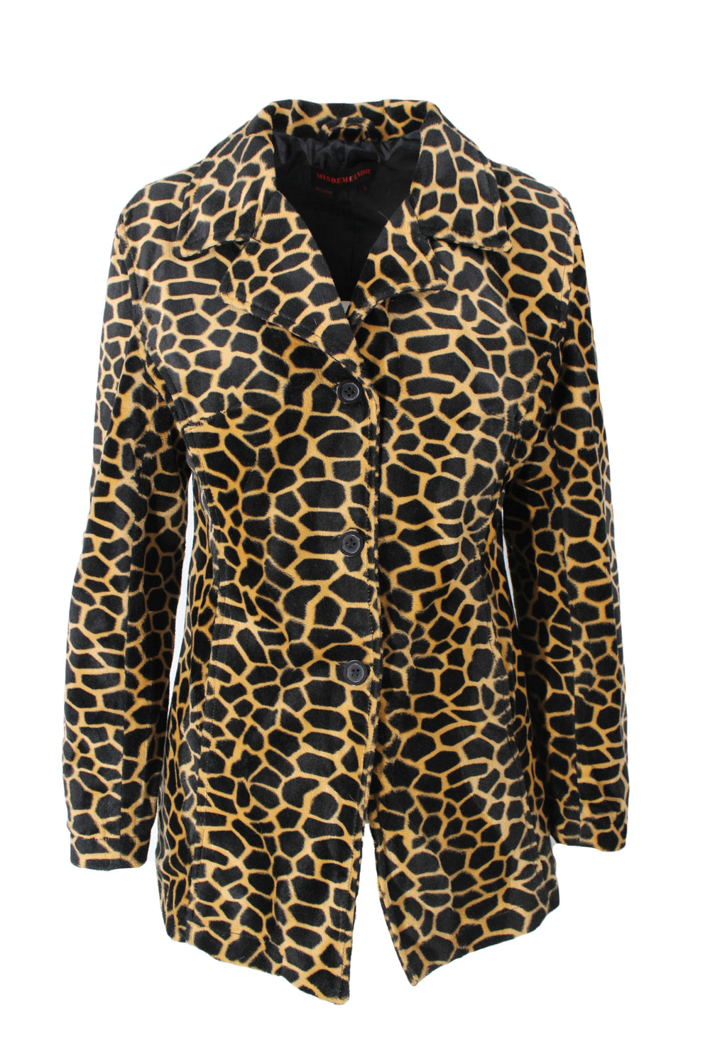 misdemeanor giraffe print collared jacket. features button down closure & two pockets.