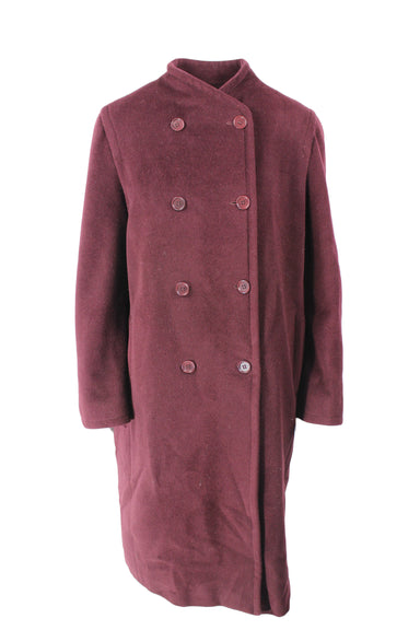 max mara burgundy collarless longline wool jacket. features button down closure & two pockets.