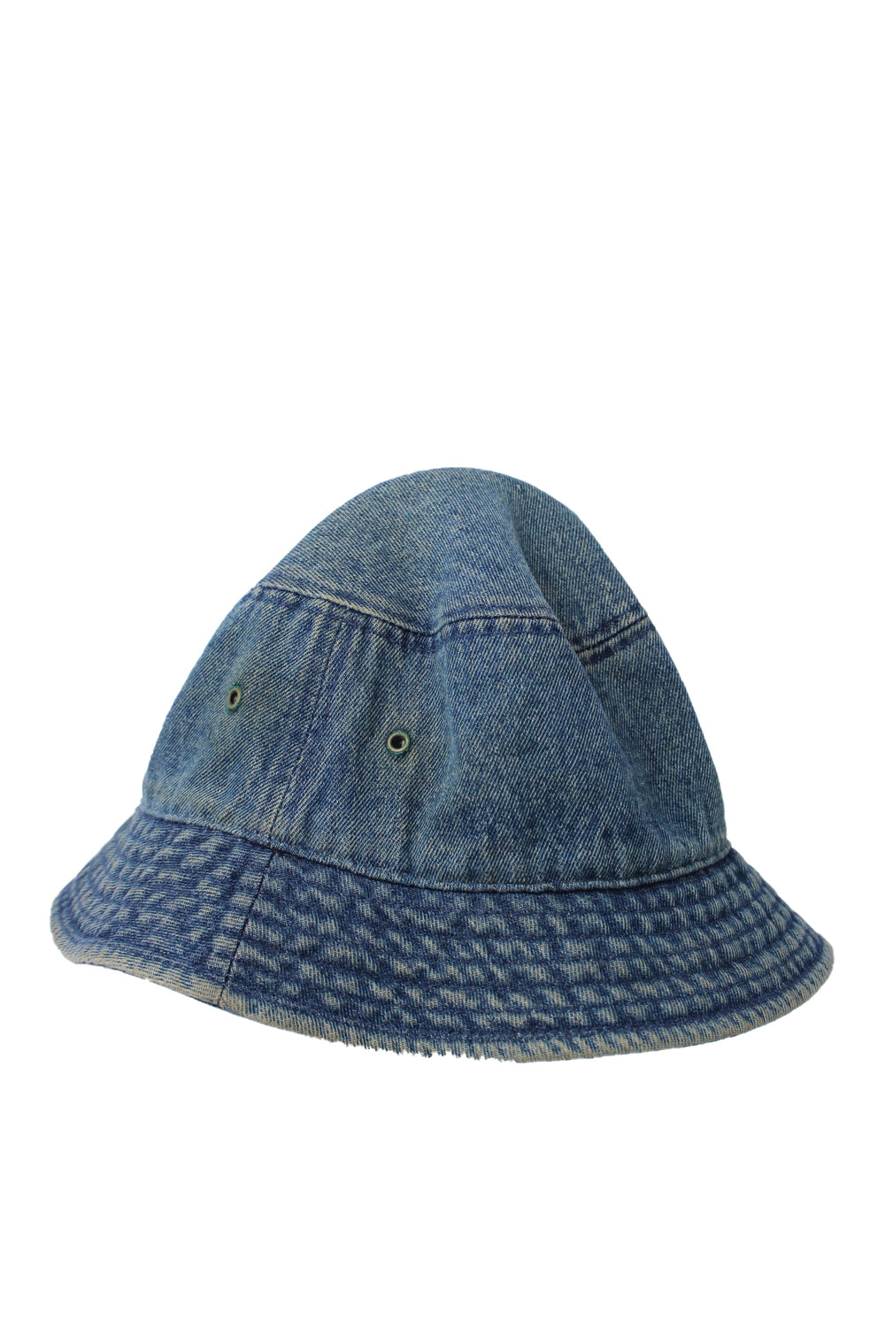 "newhattan indigo denim bucket hat. features double eyelet vents at sides. brim measures ~ 2.25""."
