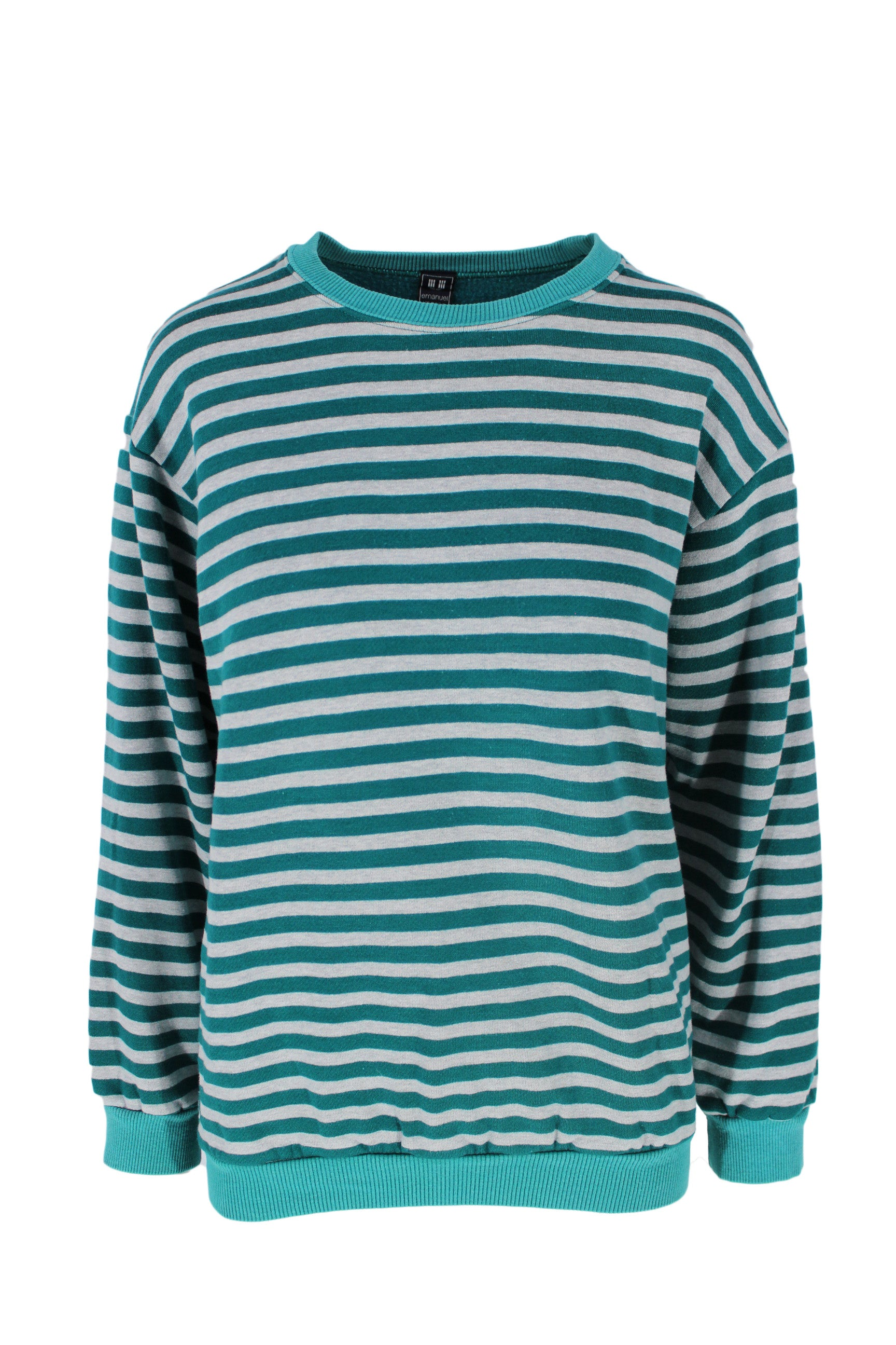 emanuel ungaro green & grey striped sweatshirt. features a round neckline, ribbed sleeve cuff, & hemline.