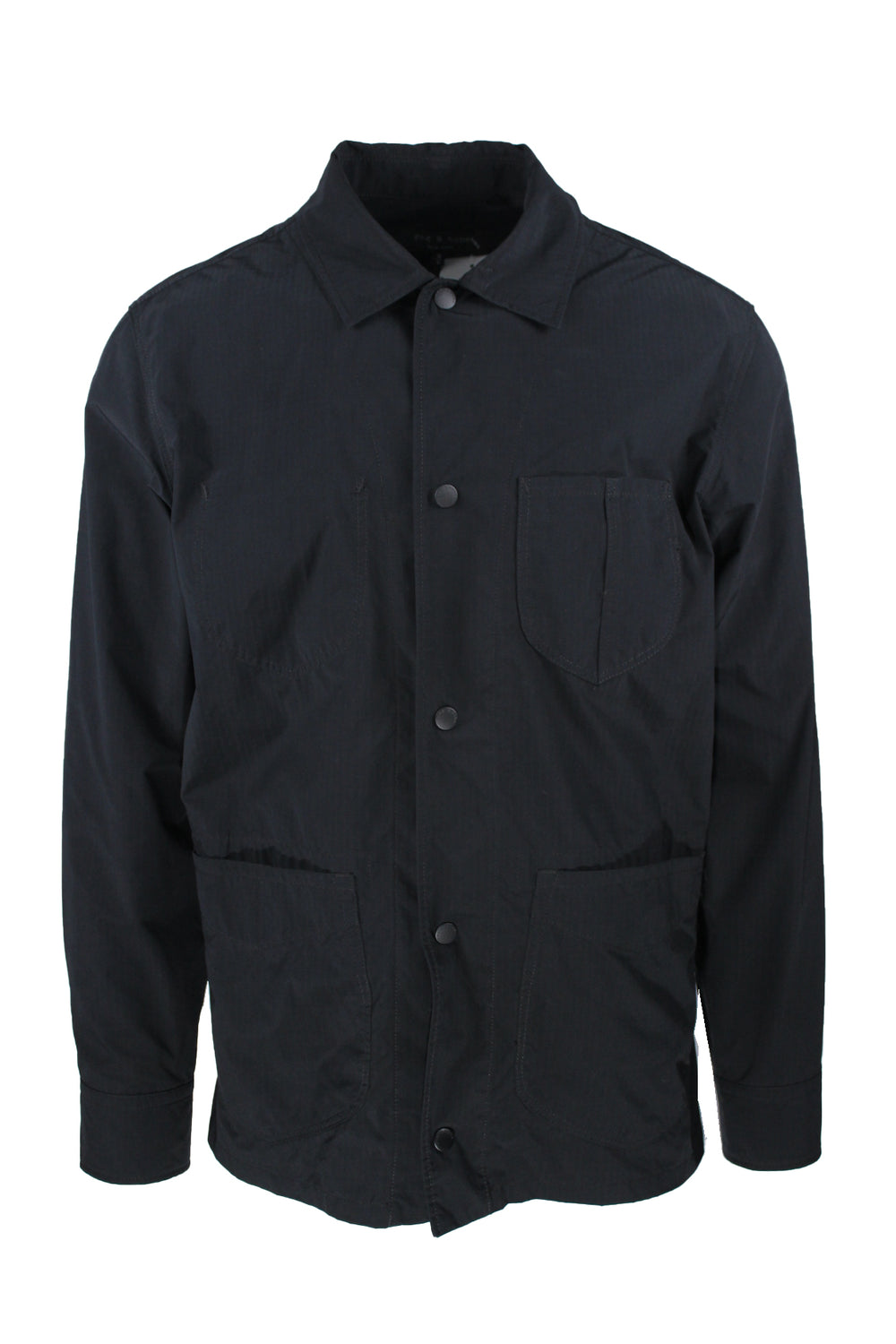 rag & bone black ripstop lightweight jacket. features branded front snap button closure with pockets at front.