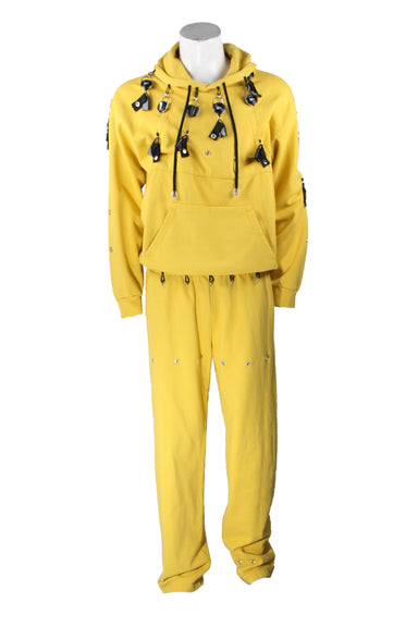 foo and foo mustard 'lighter leash sweat outfit. features light leash pulls and snaps on hoodie and elastic waist pants. kangaroo pouch pockets at top. side hand pockets and rear patch pocket at pants.