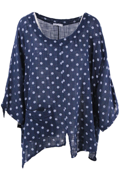 unlabeled dark blue short sleeve top. features a round neckline, a white contrast polka dot print, a patch pocket at the bottom right, slits at each seam of the body. lightweight gauze like texture.