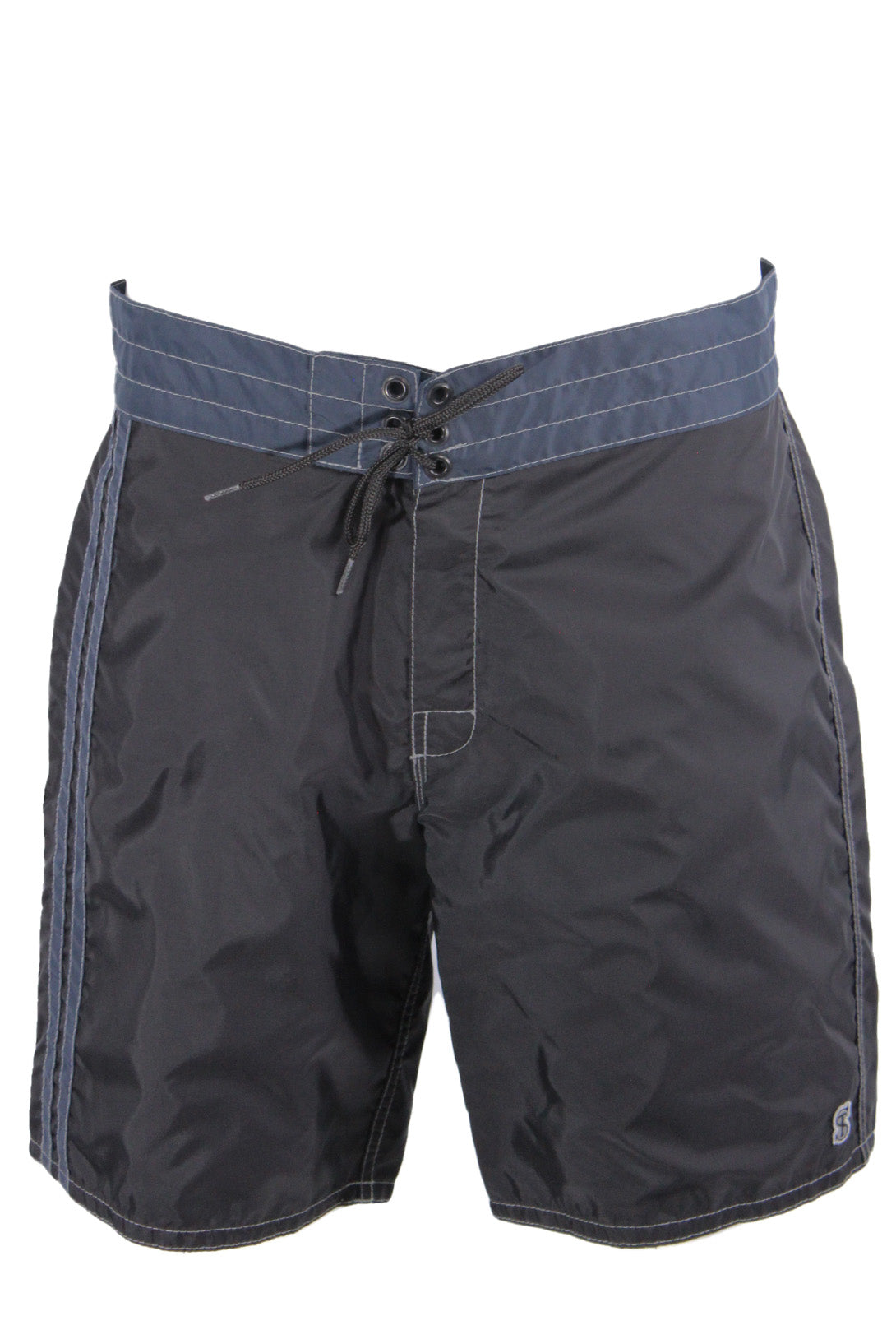 birdwell for todd snyder black/navy nylon boardshorts. features logo tag at back of waist, above left leg, and accent stripes at right leg. button flap rear pocket with key loop, button flay with drawstring closure.