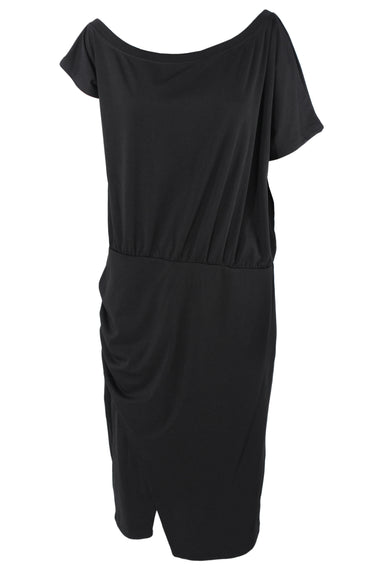 grace karin black short sleeve short dress. features an asymmetrical sleeve, drop waist with an elastic waistband, and a ruching at the bottom right of the dress.