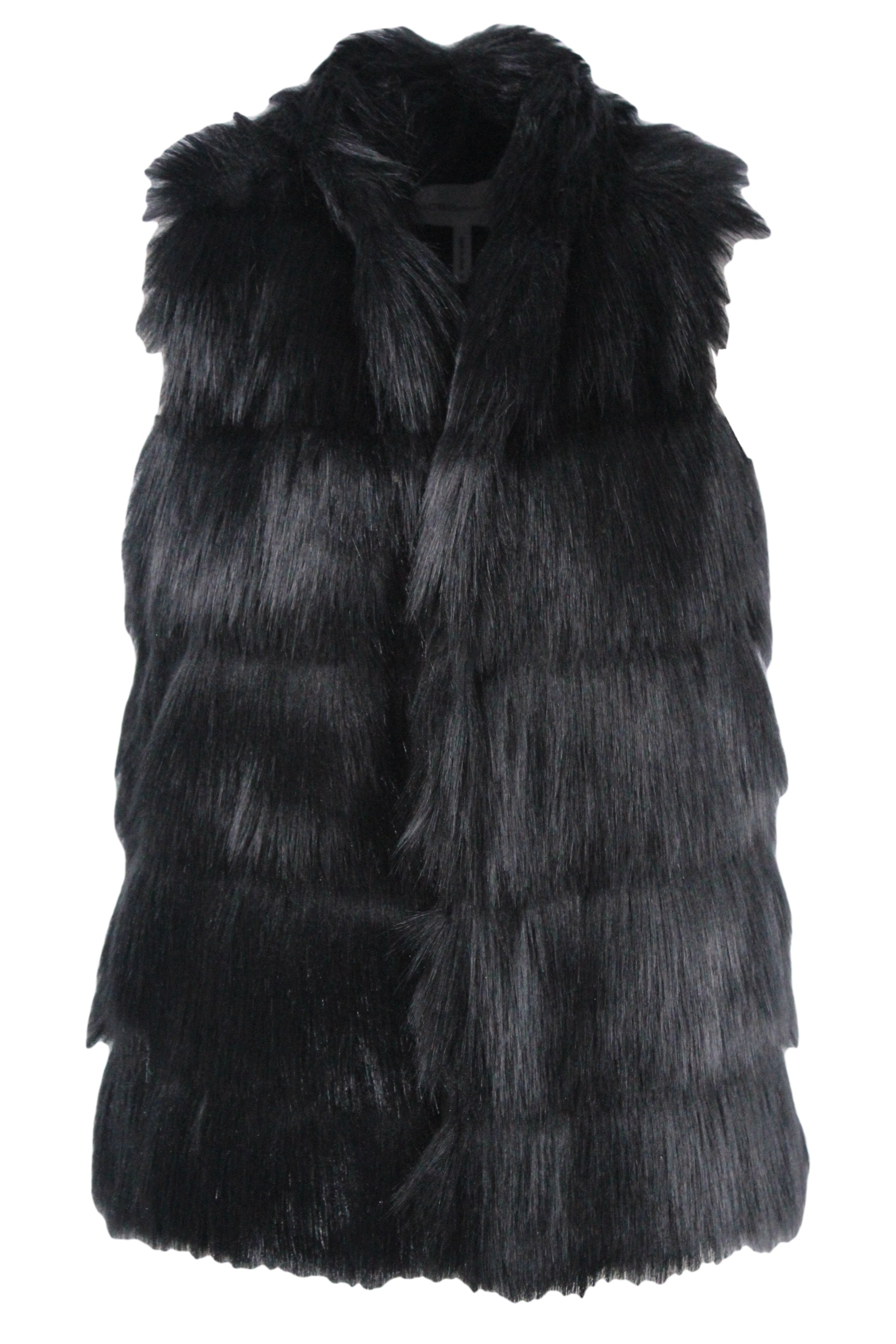 bcbgeneration black tiered faux fur vest. features two concealed side pockets & an open front.