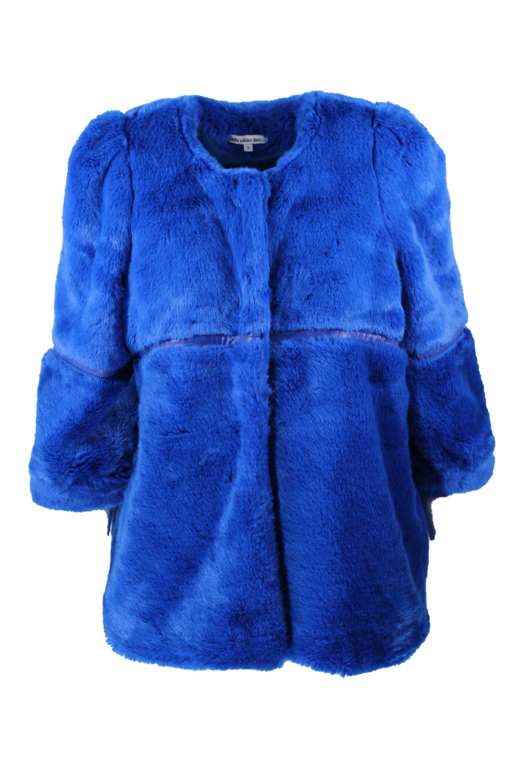 little white lies... blue faux fur jacket. featuring short sleeves, and faux leather trim.