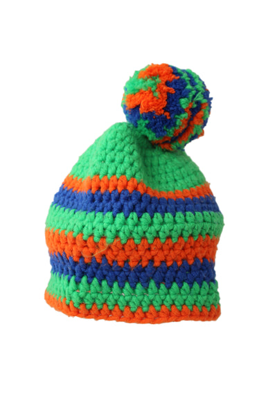 unlabeled knitted green, orange and blue stripped beanie with pom at top.