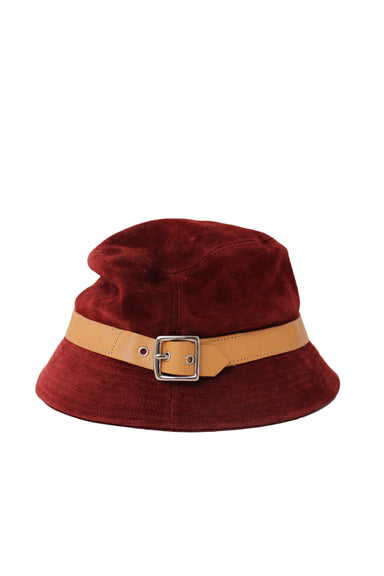 coach wine tone suede bucket hat.