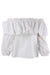 alexis white ruffled blouse. features white exterior, cinched ruffled neckline and elastic cuffs.