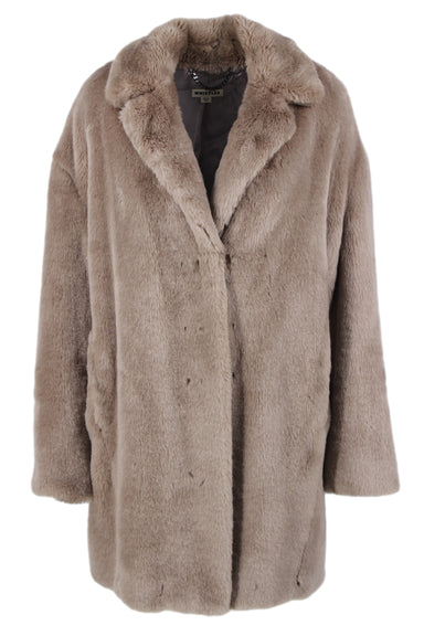 whistles mauve collared faux fur jacket. features hook eye closure & two pockets.