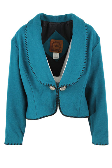 vintage mid-west garment co. teal wool jacket. features black contrast stitching, shawl lapel, two silver toned western button details at front exterior and single clasp closure.