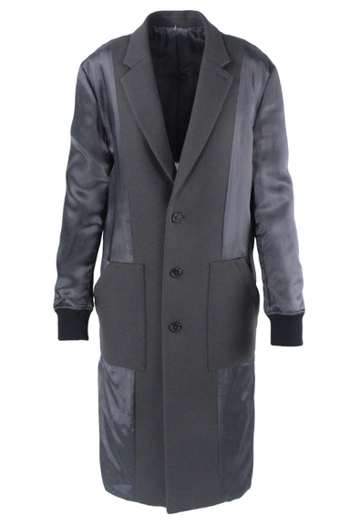 unlabeled grey overcoat. with contrast satin paneling, pockets at sides, and ribbed sleeve cuffs.