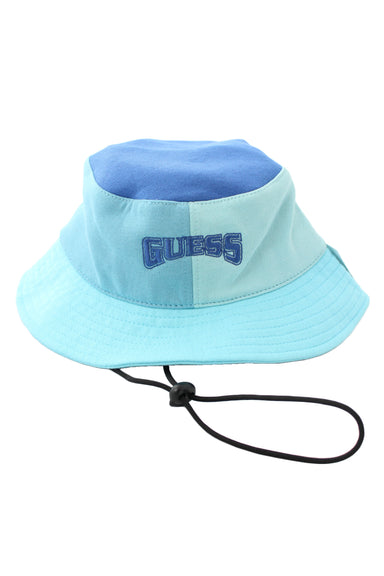 guess multi-blue cotton jersey bucket hat. features dark blue embroidered branding and color block paneled design. black toggle cord inner strap, unlined.