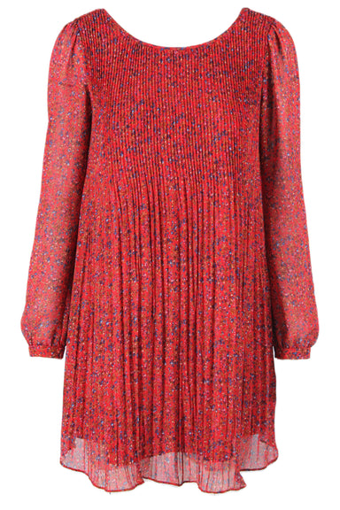 sezane red floral printed long sleeve dress.