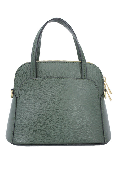 vera pelle forest green structured mini purse. features textured leather and gold hardware.