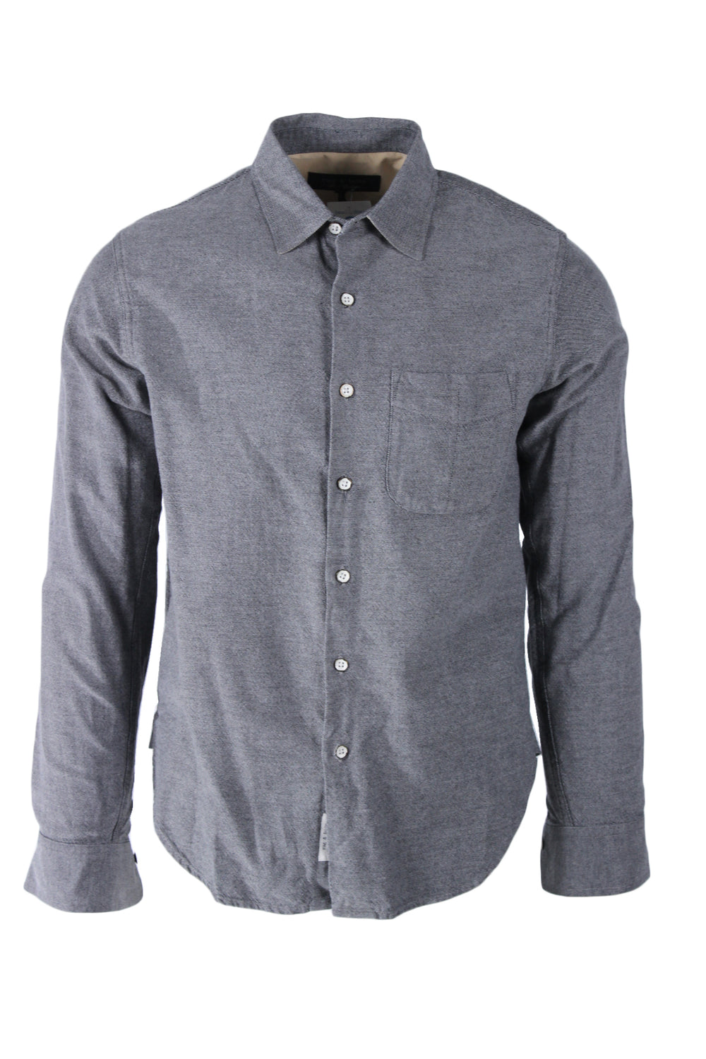 rag & bone grey long sleeve button up shirt. features 'rag & bone' logo tag at bottom of placket with pocket at left breast.