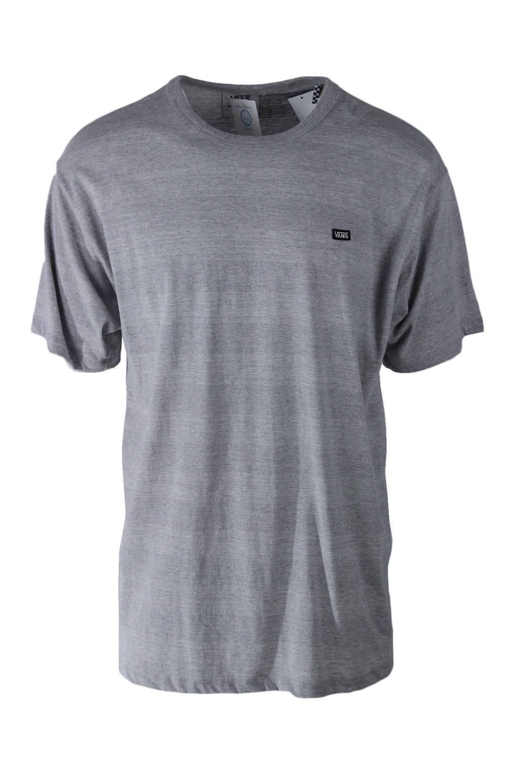 vans grey t-shirt. features 'vans' logo patch at left breast with subtle horizontal stripes throughout.