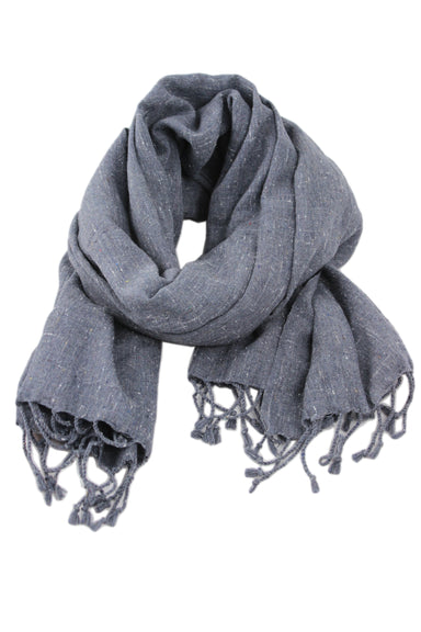the association for craft producers hand made grey cotton scarf. featuring fringe ends.