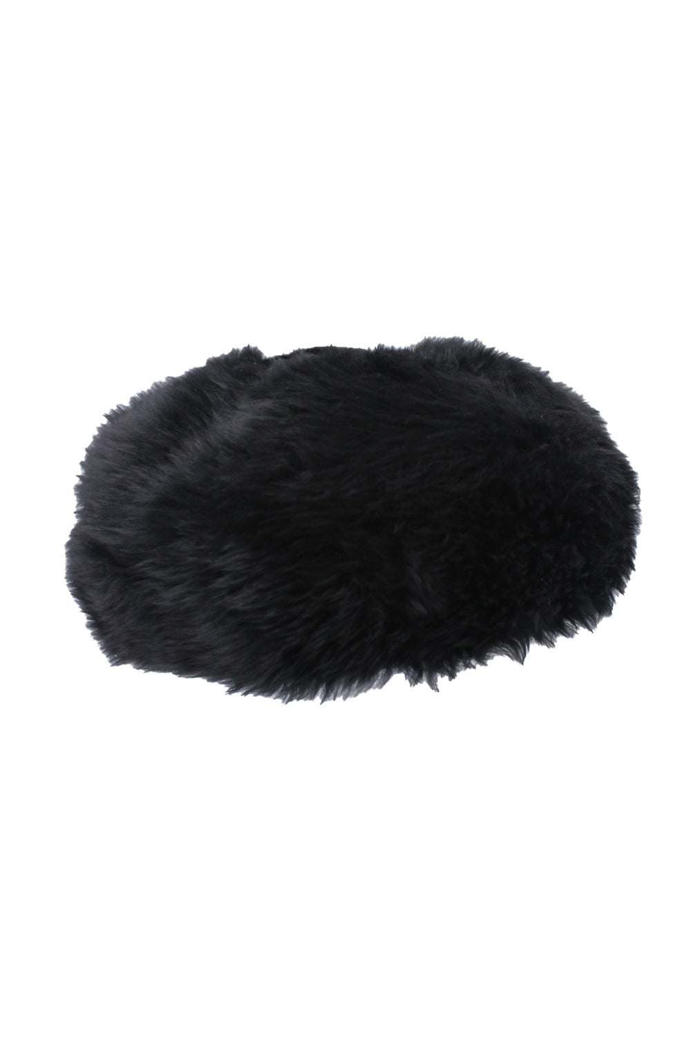vintage black shearling fur beret hat. featuring lambs shearling outer, and leather lining.