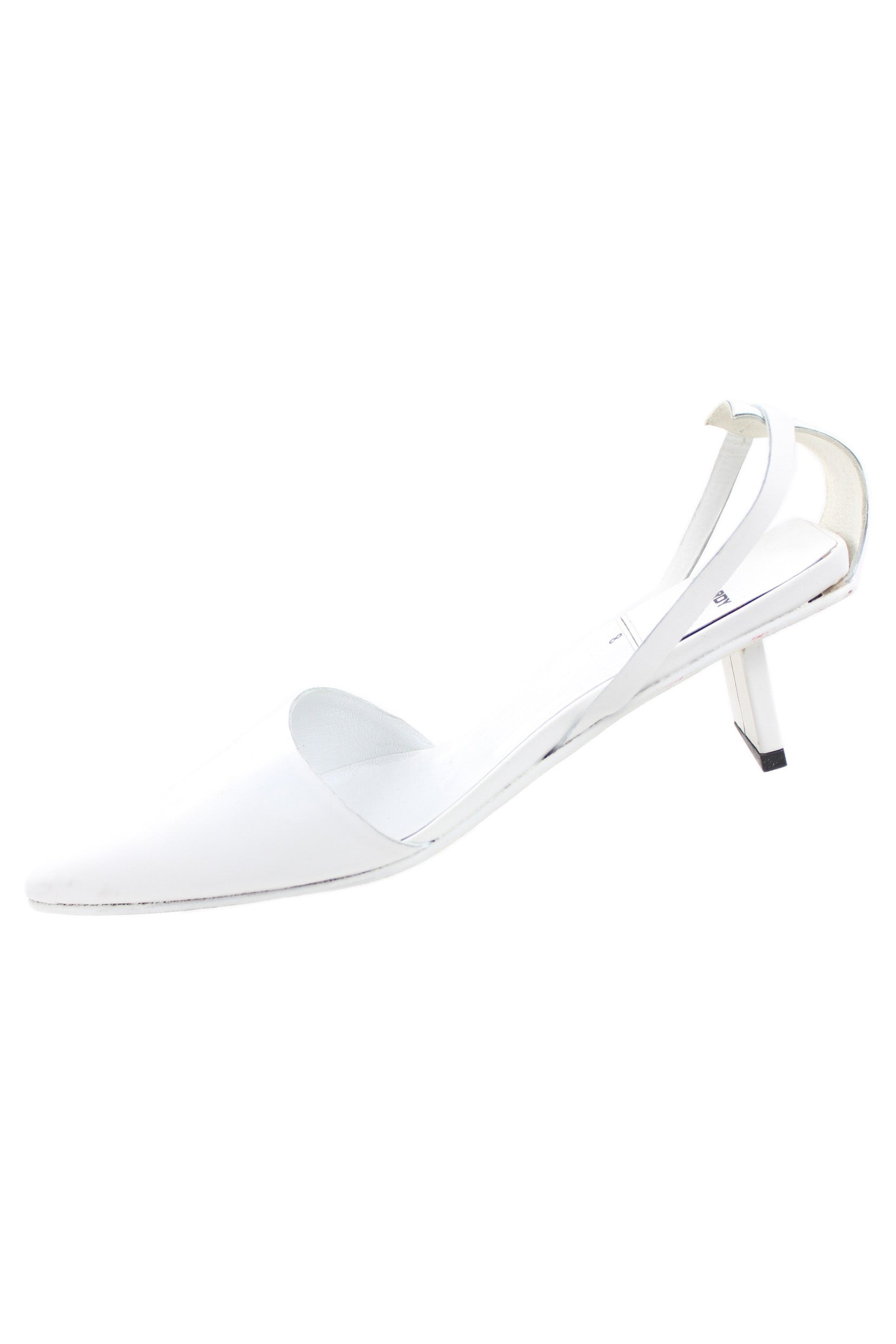 pierre hardy white pointed toe kitten heels. features geometric heel and cutout sling back.