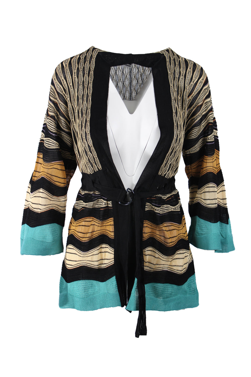 m missoni cardigan sweater. featuring tied waist with open front design. loose thread at left shoulder.