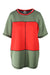 anne klein red and green color-blocked top. features contrast stitching and geometric shapes